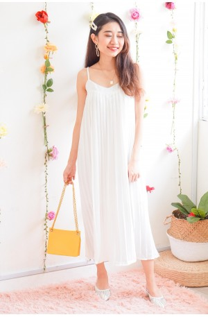 (BACKORDER) Pearl Princess Pleated Dress in White