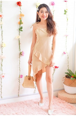 (BACKORDER) Notre Dame Self Tied Asymmetrical Dress in Beige