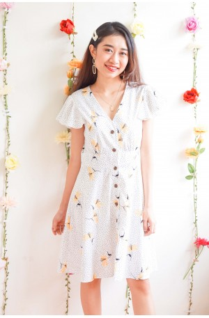 Kind Instincts White Polka Dot Dress with Yellow Flower