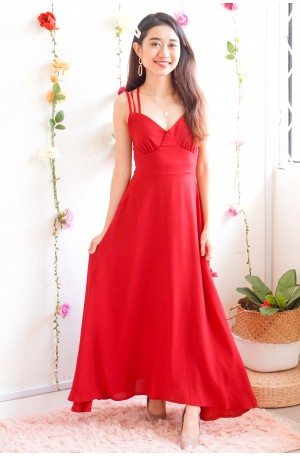 Blossom On You Crossback Maxi Dress in Red