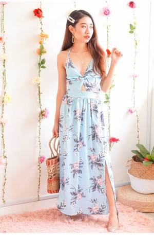 Flower Up Floral Maxi Dress in Light Blue