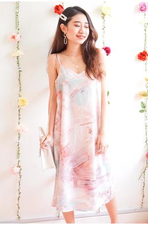 b0592d81b6ea (BACKORDER) Piece of Art Slip Dress in Pink