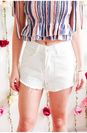 Phone Me Denim Shorts in White