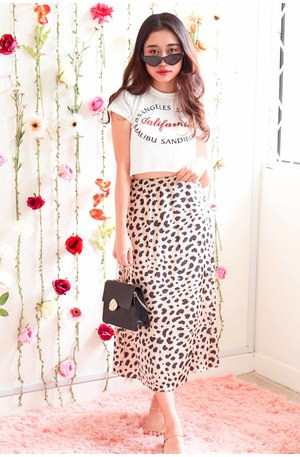 Self Interlude Leopard Satin Skirt