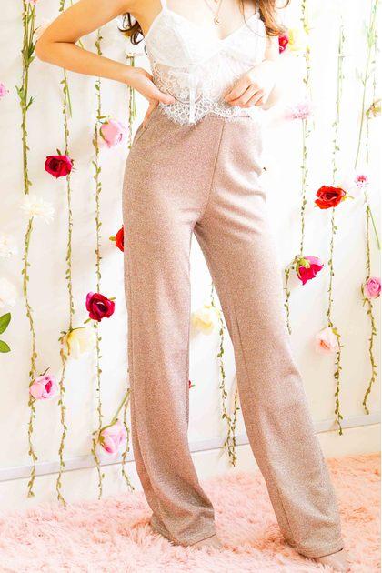 Walk of Glam Shimmery Pants in Beige