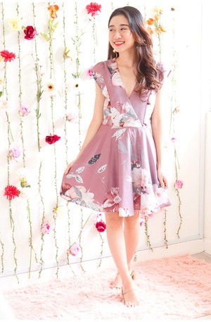 Wedding Favor Floral Dress in Mauve