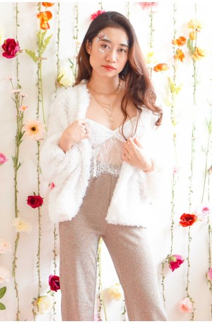 Extra Glam Furry Jacket in White