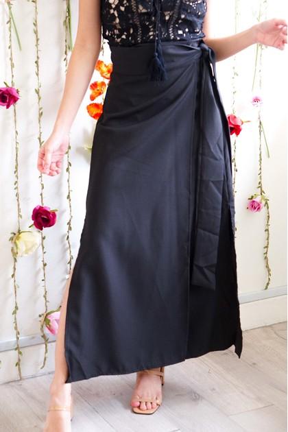 Love Ain't Self Wrap Skirt in Black