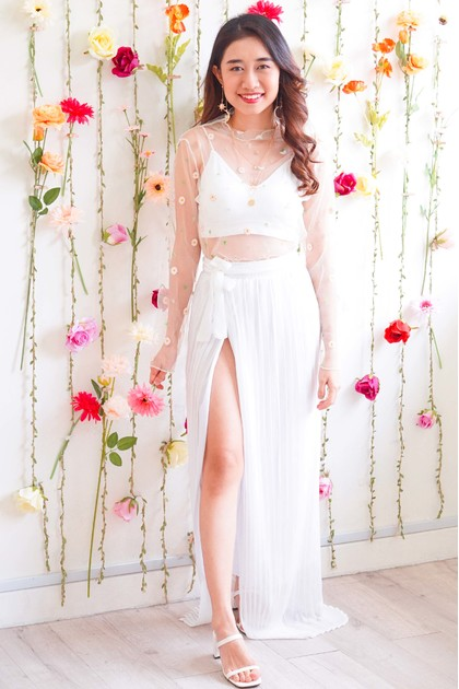 Heaven's Touch Pleated Slit Skirt in White
