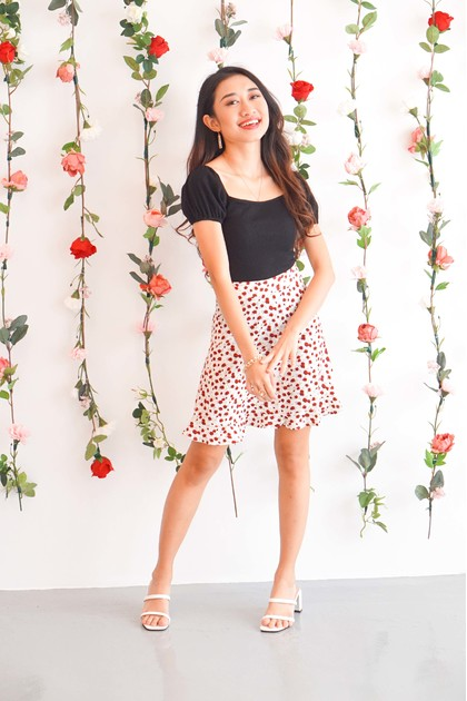 Cheeky Call White Mini Skirt with Red Floral