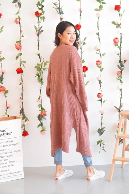 Moving Forward Long Cardigan in Dusty Pink