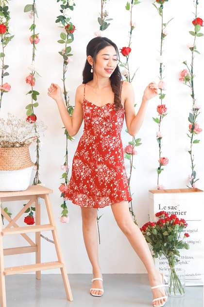 Love Guide Floral Mini Dress in Red