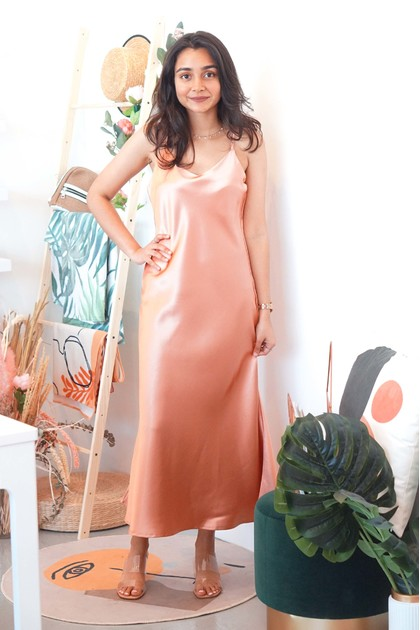 Kiss with the Flow Satin Dress in Pink