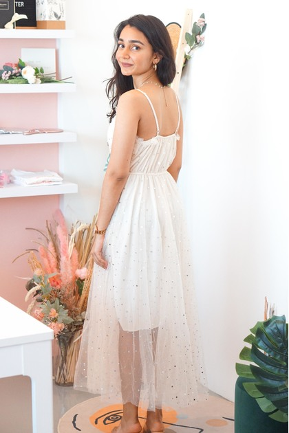 Fairy Night Mesh Dress in Beige