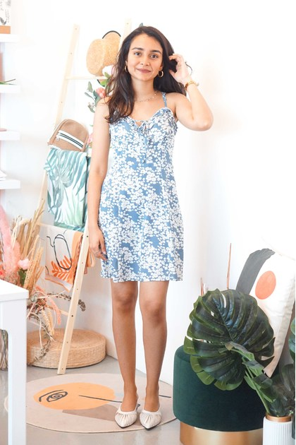 Like Me Better Floral Sleeveless Mini Dress in Blue