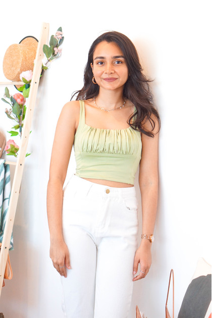 No Where To Be Sleeveless Top in Green
