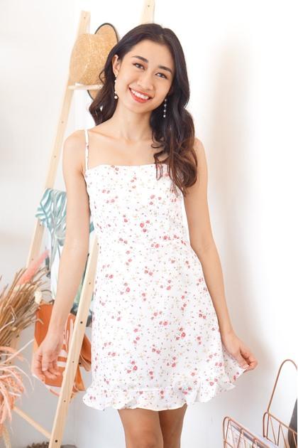 Heart Eyes Floral Mini Dress in White