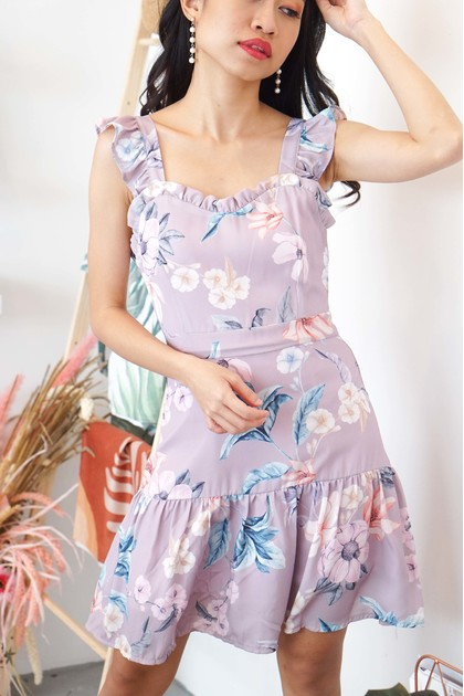 Whimsical Light Floral Ruffle Dress in Purple