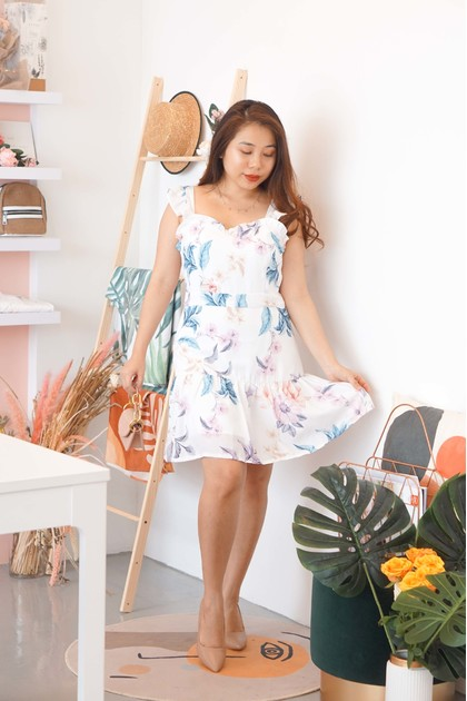 Whimsical Light Floral Ruffle Dress in White
