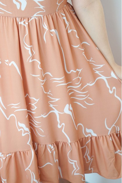 Reverie Pastel Abstract Dress in Khaki