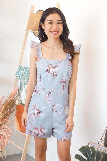 Lena Floral Jumpsuit in Blue