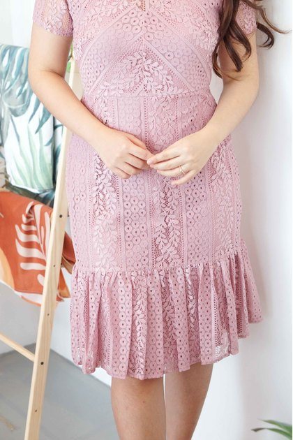 VEANA Fishtail Lace Dress in Pink