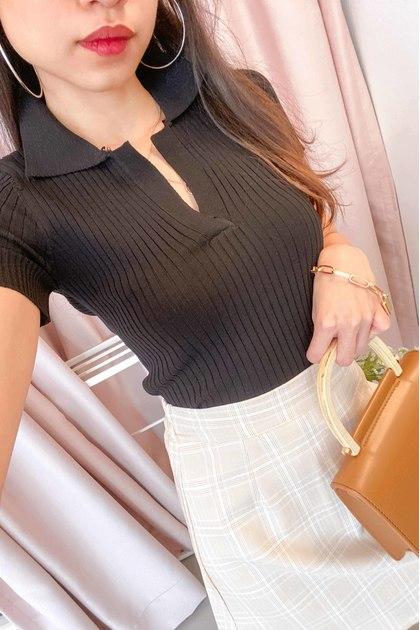 ABG Knit Collar Top in Black