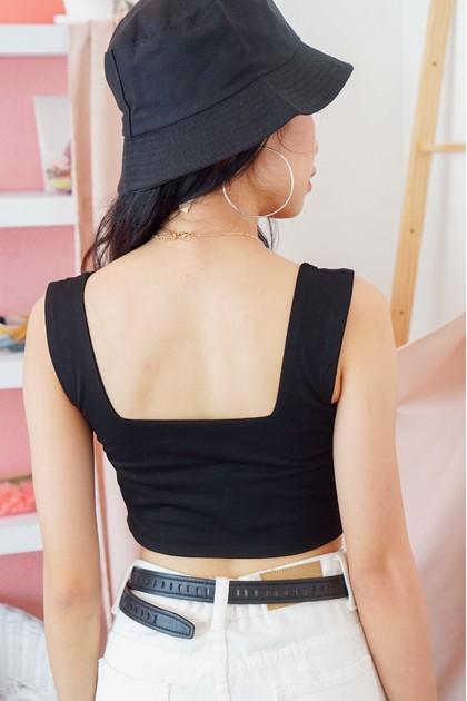 Cold Shoulder Crop Top in Black