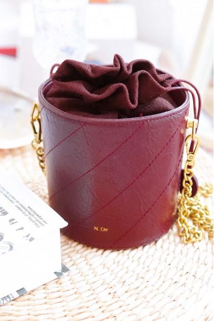 SMOL // GISELLE Maroon Bucket Bag
