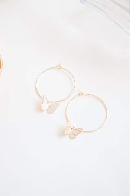 (BACKORDER) Butterfly Craze Hoop Earrings