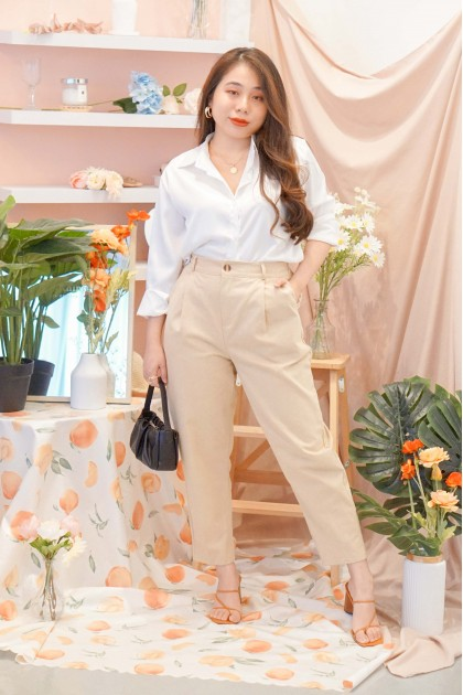 Over and Under Cropped Pants in Khaki