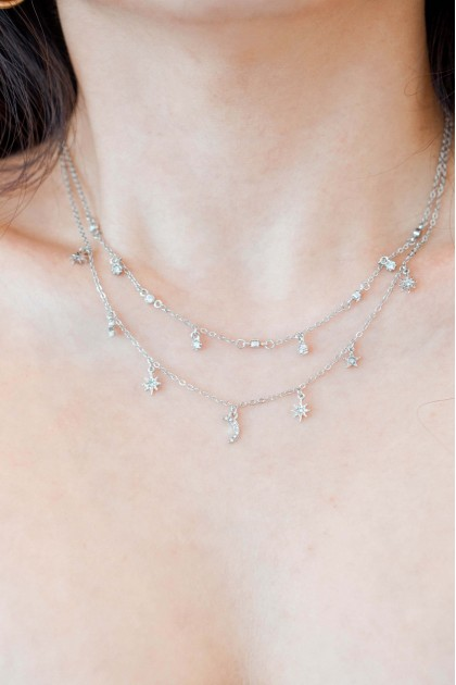 Silver Lines Layered Necklace