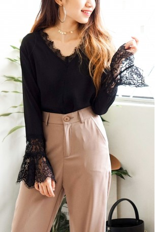 Me Before You Black Lace Chiffon Top
