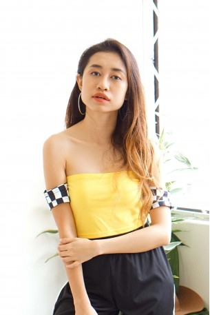 Runner Up Yellow Off Shoulder Checkered Top