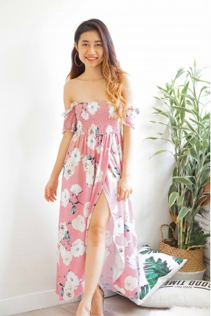 Spring is Coming Pink Floral Off Shoulder Dress