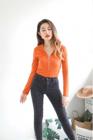 Prison Break Zipper Orange Bodysuit