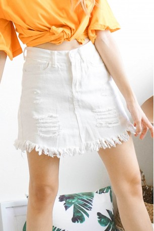 Self Destruction White Denim Skirt