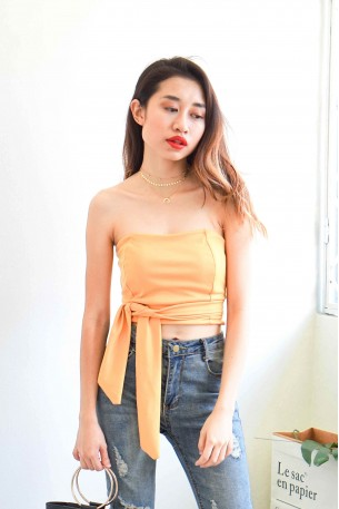 Daydream Knot Tube Top in Yellow