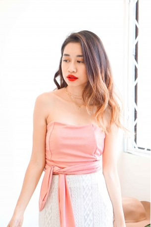 Daydream Knot Tube Top in Pink