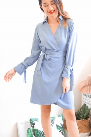 Love Galore Blue Tie Front Button Dress