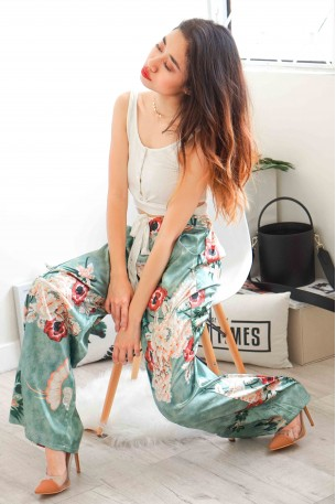 Paradise Is Calling Green Satin Floral Pants