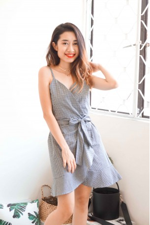 Believer Gingham Self Wrap Dress