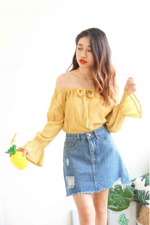 Warm Lemonade Mustard Yellow Off Shoulder Top
