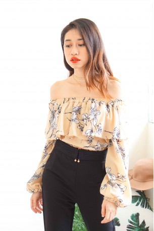 Hibiscus' Petals Nude Floral Off Shoulder Top