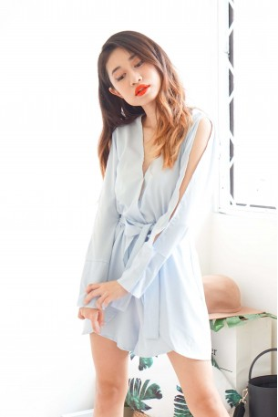 Cloud Candy Light Blue Deep V Jumpsuit