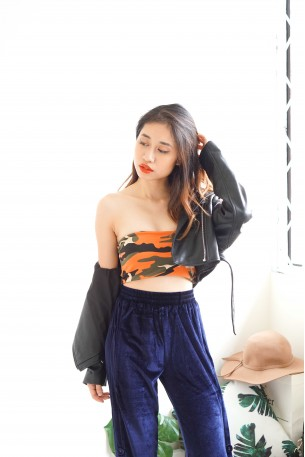 Savy Navy Camo Tube Top