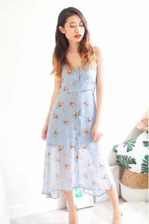 Dainty Dawn Blue Floral Chiffon Dress