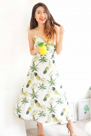 Pina Colada Crossback Pineapple Dress