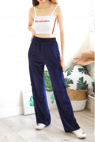 Velvet Playground Dark Blue Velvet Track Pants